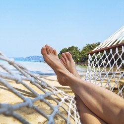 relax on the beach in hammock