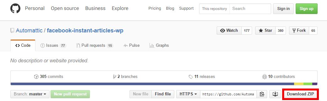 Facebook Instant Articles GitHub Screenshot