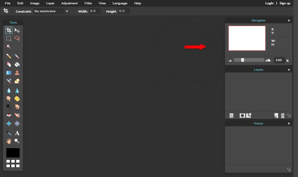 Pixlr Navigation Panel